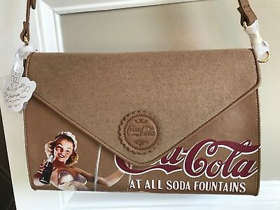 Coca-Cola Brown Leather Shoulder Bag or Purse