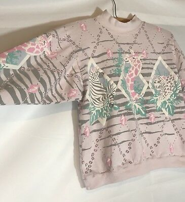 80s Vintage Spumoni By Franko Mock Turtleneck Safari Animal Motifs Girls Size M