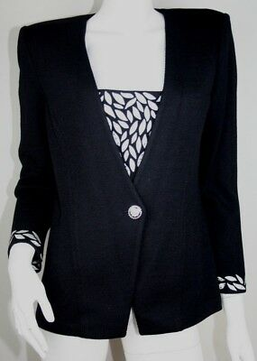 St John Marie Gray Black Santana Knit Embroidered Rhinestone Jacket Blazer 8 M