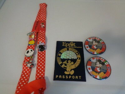 Lot of 6 Disney Trading Pins with 1 Minnie Mouse Lanyard-2 button pins-passport