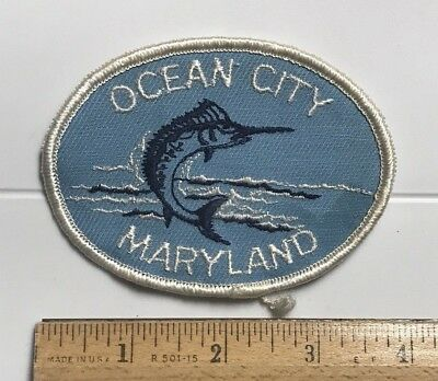 Ocean City Maryland MD Marlin Swordfish Souvenir Embroidered Patch Badge