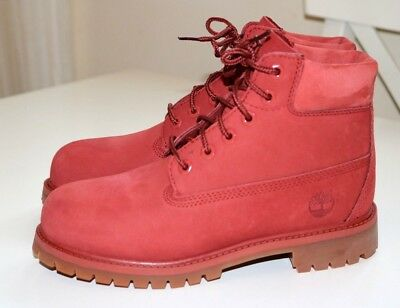 Timberland 6 Inch Premium Red Leather Shoes Boots - Boys Girls Kids Uk2 Eur34.5