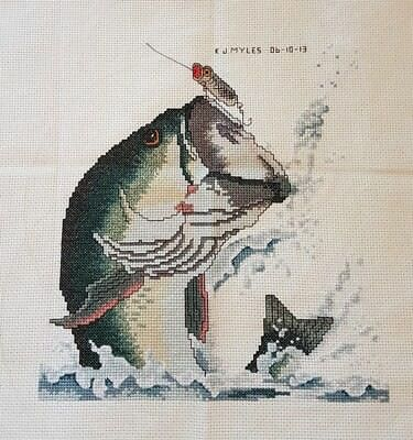 Hand made 'Fishing' completed cross stitch 22 x 23cm