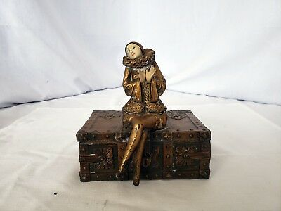 Antique Bronze chest with Harlequin gold  gilded