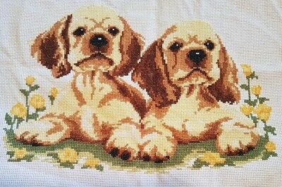 Beautiful puppies completed cross stitch Hand made