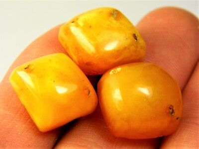 Lot of 3 old Baltic Amber butterscotch egg yolk drilled stones natural 2298