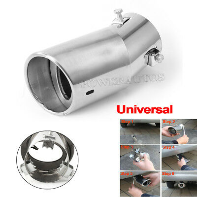 Car Universal Round Stainless Steel Chrome Exhaust Tail Muffler Tip Pipe AUTOS