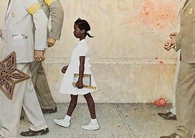 """Vtg Art Print Norman Rockwell 9"""" x 11"""" THE PROBLEM WE ALL LIVE WITH"""