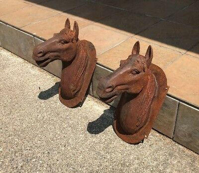 Vintage Large Cast Iron Horse Heads (pair), French Trade Signs, EXC COND!