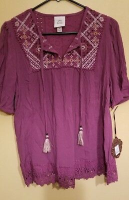 bd4e71bb6e7c86 Women's Short Sleeve Tassels Embroidered Peasant Top Med or Large Knox Rose
