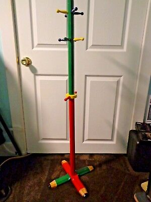 Child Size Pencil Coat/clothing Rack, Primary Colors, 4' Tall-Euc