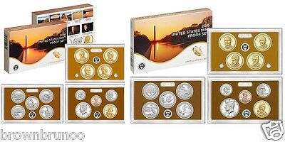 2015-S + 2014-S US Mint PROOF Set Cameo 28 Pc Coins Kennedy ATB $1 Dime Penny