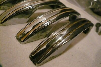 LOT of 12 VINTAGE DECO CHROME PLATED + STRIPE CABINET DOOR DRAWER HANDLES PULLS