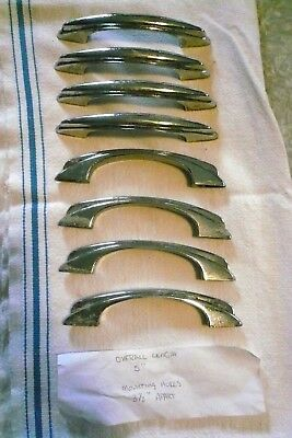 """LOT of 8 VINTAGE DECO CHROME PLATED 5"""" DOOR DRAWER HANDLES PULLS 3.5"""" CTRS HEFTY"""