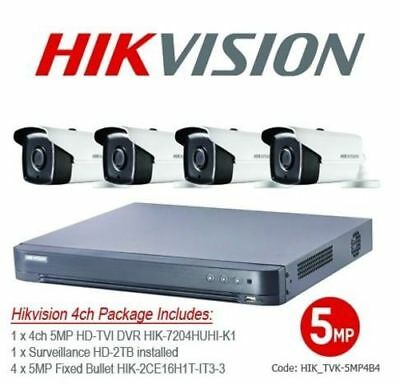 5MP Hikvision TVI 4ch Fixed Bullet Bundle Kit