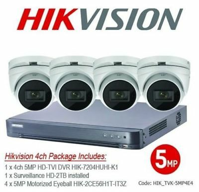 5MP Hikvision TVI 4ch Motorized Eyeball Bundle Kit
