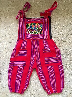 Boho Baby Overalls Guatemala - hand embroidery. Size 6 months approx.