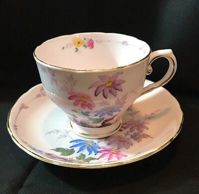 Vintage Tuscan Bone China Tea Cup And Saucer England Pink With Flowers