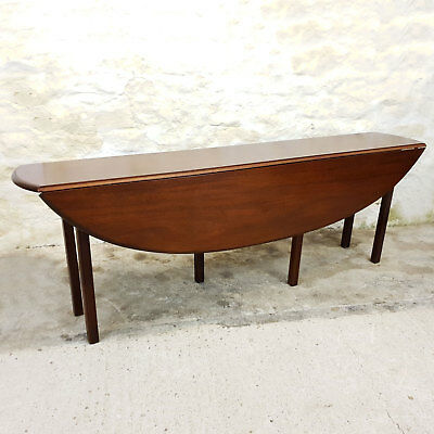"""C18th Style Mahogany Wake Oval Drop Leaf Dining Table 7'6"""" (Antique)"""