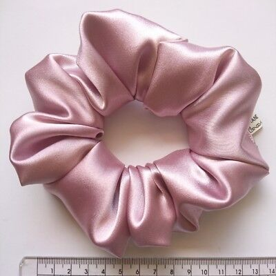 Deluxe silky satin quality HANDMADE hair scrunchie elastic ponytail pink wide