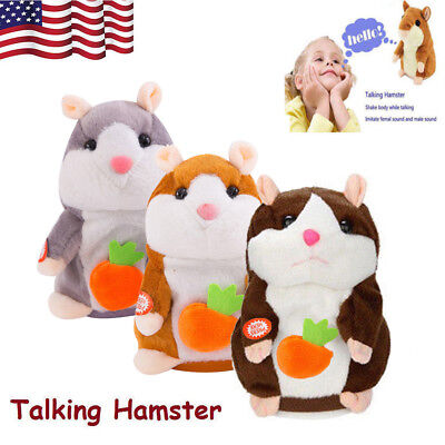 US Lovely Carrot Hamster Talking Walking Nodding Sound Record Electric Xmas Toys