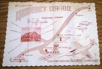 Rare 1950 QUONSET STEAK-HOUSE Restaurant PLACEMAT - NAVAL AIR BASE, AIRPLANES ++