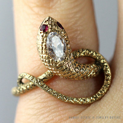 Vintage Ruby 18K Yellow Gold Twisting Snake Ring Size 6.75