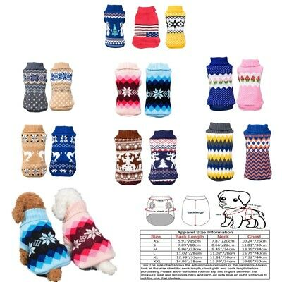 Pet Dog Puppy Winter Warmer Jumper Knitted Clothes Sweater Xmas Costumes Gift