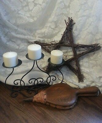 Primitive Decor Lot ** ANTIQUE BELLOWS WILLOW BRANCH STAR IRON CANDLE HOLDER **