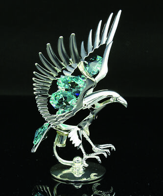 Swarovski Color Crystal Studded American Eagle Figurine Silver Plated