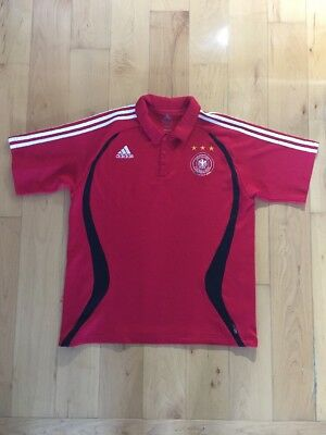 830ff6e76 Adidas Germany National Soccer Team Jersey Red Collar Shirt Sleeved Size L