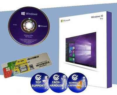 WINDOWS 10 PRO - Key Lizenz - Aufkleber + original DVD - 64 Bit Vollversion  NEU