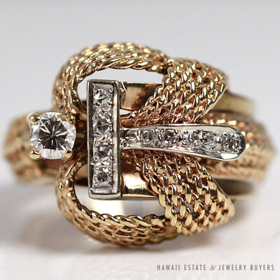 Vintage Diamond & Rope Work Style 14K Yellow Gold Ring Size 7