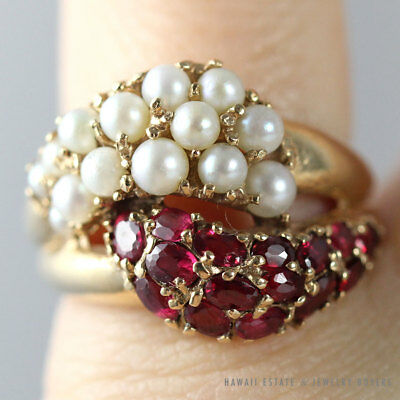 Vintage Purple Burmese Ruby Sapphire Seed Pearl Cross Over 14K Yellow Gold Ring