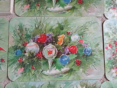 8 Vintage CHRISTMAS Holiday Placemats Wipe off and Reuse Set In Box