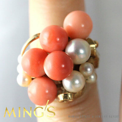 Vintage Ming's Hawaii Coral Bead & Pearl 14K Yellow Gold Ring Size 4.5