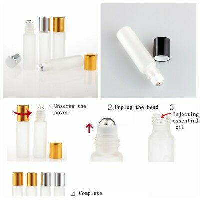 5pcs Portable 5ml Frosted Glass Essential Oil Roller Bead Bottle Mini