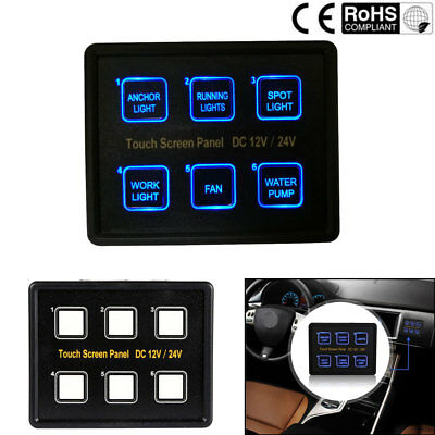 6 Gang LED Touch Screen Slim Switch Control Panel Car Boat Truck Marine 12V/24V