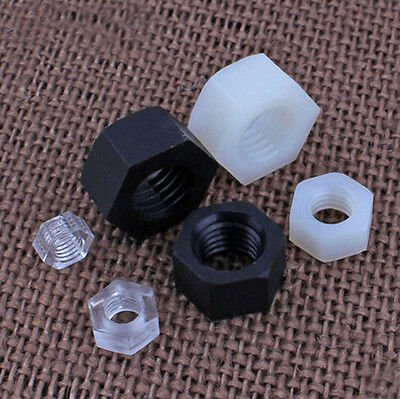 M2 M2.5 M3 -M20 Black /WHITE NYLON/ PC CLAER HEX NUT PLASTIC HEXAGON NUTS