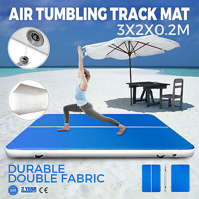 10Ft Air Track Floor Tumbling Inflatable Gym Mat Yoga Blue 8in Thick Portable