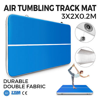 10Ft Air Track Floor Tumbling Inflatable Gym Mat Yoga Pro Blue Training PRO