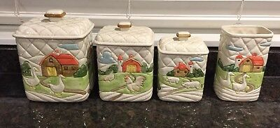 (4) Vintage Otagiri Quilted Farm 1982 Canisters Vase Set Geese Chickens Pigs