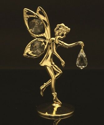 Swarovski Crystal Element Studded Fairy Figurine 24K Gold Plated