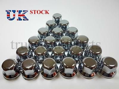 New 60x 32mm Wheel Nut Cover Lux Plastic CHROME fit Lorry Trailer Bus Truck LKW