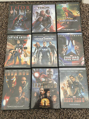 Marvel Movie lot of 9 DVDs Iron Man 1 2 3 Captain American 1 2 3 Thor 1 2 3