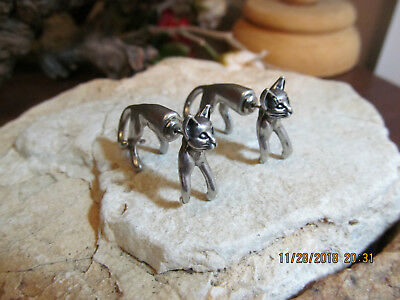 Silver tone Egyptian Bastet Kitty CAT Double Sided Ear Jacket Stud Earrings