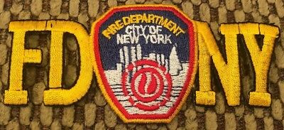 """NYC Fire Department FDNY firefighter patch 4 1/2 x 1 1/2"""" FD Logo Centered New"""