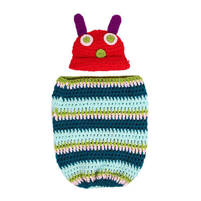 Newborn Baby Boy Girl Beanie Crochet Very Hungry Caterpillar Hat Cocoon Set P6F2