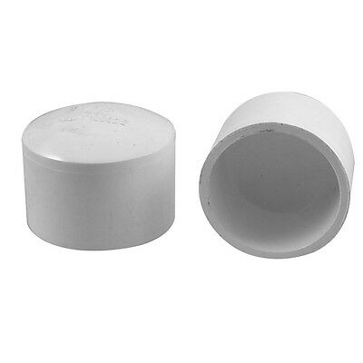 2Pcs 50mm PVC Water Hose Pipe Adapter Coupler Caps Stop End B7I2 R5M4