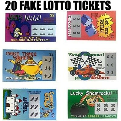 20 PHONY FAKE ALL WINNING SCRATCH OFF LOTTO LOTTERY TICKETS - Fun Gag Joke Prank